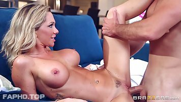 After an amazing footjob, a blonde lady Destiny Dixon is getting a big cock in her mouth
