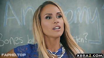 Naughty, blonde professor, Tegan James is fucking a horny cleaning guy, while in the classroom