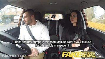 Dark haired bitch, Jasmine Jae is getting fucked in the car, while in a doggy position