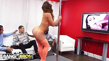 Curvaceous pole dancer, Kelsi Monroe was hired for a private performance and a bit of cock sucking
