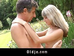 Old man likes to lick and fuck a perfectly shaved pussy, exactly like Doris Ivy has